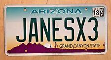 "ARIZONA VANITY LICENSE PLATE "" JANES X3 "" 3 JANES JANE  TARZAN"