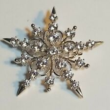 Cz Star/Snowflake Pin Brooch Qvc Signed Gv 925 Sterling Silver&Diamonique