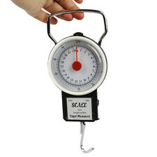 50LB/22KG Mechanical Fishing Scale Hanging Portable Luggage Scale Tape Measure