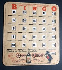 Old Crow Bourbon Whiskey Bingo Card Sign Frankfort Kentucky Liquor Beer Bar 50s