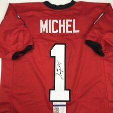 Autographed/Signed SONY MICHEL Georgia Bulldogs Red Football Jersey JSA COA Auto