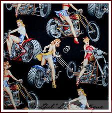 BonEful Fabric FQ Cotton Quilt B&W Motorcycle Bike Sexy America Hot Pin Up Girl