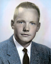 """NEIL ARMSTRONG 1956 ASTRONAUT WALKED ON MOON 8x10"""" HAND COLOR TINTED PHOTOGRAPH"""