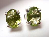 Faceted Peridot Oval 4-Pronged Stud Earrings 925 Sterling Silver New
