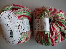 Universal Cool Baby yarn, cotton blend, Cherry Limeade, lot of 2 (140 yds each)