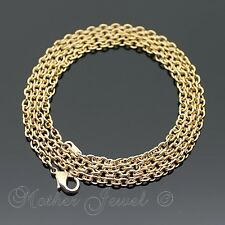 75CM LONG REAL 18K YELLOW GOLD GP CABLE 3MM THICK CHAIN MENS LADIES BOY NECKLACE
