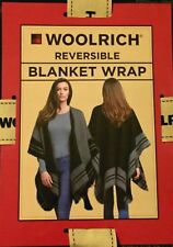 Woolrich One Size Reversible Blanket Wrap Black  Charcol New Women's Shawl