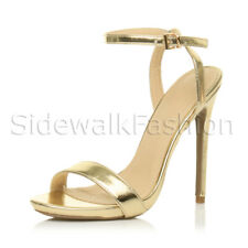 45dc4d1ee0e Womens Ladies Slim High Heel Barely There Ankle Strap Party Evening Sandals  Size UK 3 /