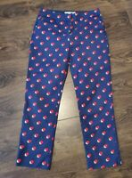 BODEN Richmond 7/8 Trousers Pants Navy Red White spotted Pattern Size 10uk long
