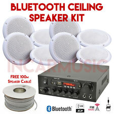 8x Speakers Bluetooth USB SD FM AUX Amplifier Kit For Restaurants Cafe Gym Hotel