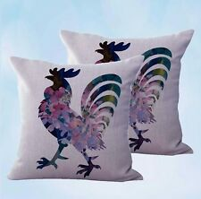 US Seller-set of 2 shabby chic farm barn rooster cushion cover pillow sofa