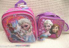 """Frozen Anna Elsa Olaf 10"""" Backpack and Lunch Bag Lunchbox + Frozen Pen-New!v8"""