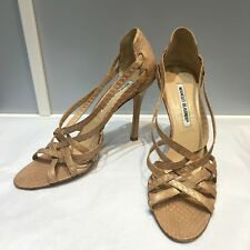 100% authentic Manolo Blahnik open toe snakeskin heels, size 38