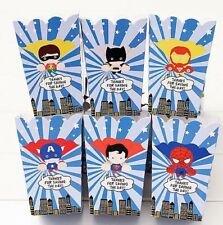 6x Superhero Popcorn Box Paper Loot Lolly Bag. Party Supplies Avengers Batman