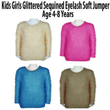 Girls Sequined EYE LASH Gorgeously Soft Hairy Moonlight Jumper Top Age 4-8 Years