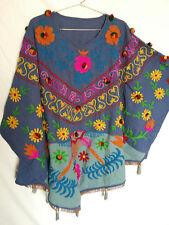 Cotton FABRIC Vintage suzani Embroidered Caftan Westen Tunic Kaftan Boho Indian