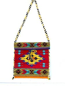 """Hand Woven Zapotec 14x15"""" Red Yellow Unisex Wool Weaving Tapestry Messenger bag"""