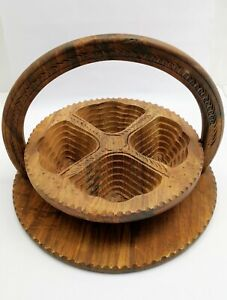 Wooden Dry Fruit Basket Handmade Collapsible with Folding Trivet