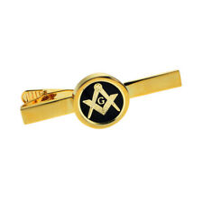 Masonic Black & Gold With G Design Gold Plated Tie Clip Boxed XPSCTCM