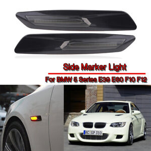 2PCS FOR BMW SERIES BMW 1 3 5 Series LED SIDE MARKER INDICATOR SMOKED LIGHT DRL