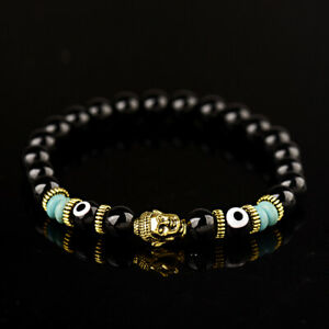 8MM Natural Obsidian Hamsa Eyes Beads Gold Buddha Head Men Women Bracelets 2019