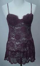 Women's VICTORIA'S SECRET Purple Silk Lace Lingerie/Teddy/Babydoll - Sz 34B