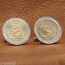 Argentina Coat of Arm Coin Cufflinks, Modern 1 Peso Argentinian Silver Tone