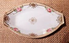 LOVELY VINTAGE NIPPON PIN TRINKET RING SALT DIP DISH GILDED WITH PAINTED ROSES