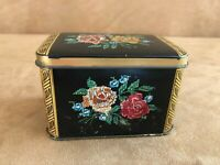 Vintage England Needlepoint Flower Floral Hinged Box 4 x 2 Tin Metal