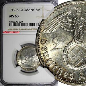 GERMANY-Third Reich Silver 1939 A 2 Reichs Mark NGC MS63 Hindenburg KM# 93 (029)