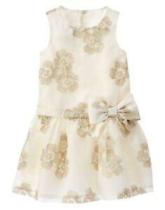 Gymboree Savanna Party Gold Metallic Floral Bow Dress Girl 12 Christmas Winter