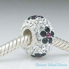 BLACK FLOWER CLEAR CRYSTAL 925 Solid Sterling Silver EUROPEAN EURO Bead Charm