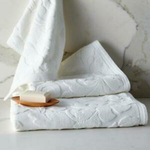 Fleur Supima Cotton White Bath Sheet