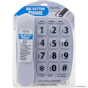 WHITE XL BUTTON PHONE LANDLINE HOUSE FRAIL ELDERLY FLASHING RINGER ASN
