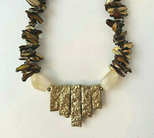 Spikes and Citrine Stone Beaded Necklace Barse Brand Genunie Golden Druzy, Pearl