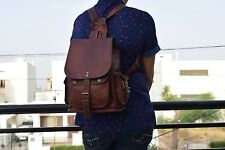 "Vintage Leather Backpack Women Shoulder Bag Rucksack Daypack Small 12"" High"