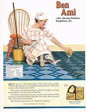 1920s BIG Old Vintage Bon Ami Cleaning Powder Maid Bathroom Decor Art Print Ad b