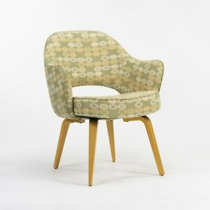 2020 Eero Saarinen for Knoll Executive Arm Chair w/ Wood Legs & Abacus Fabric