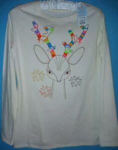 Girls Reindeer Fall Shirt Size XL 14-16 Cat & Jack Off White Long Sleeves