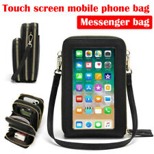 New listing Women Touch Screen Cell Phone Crossbody Transparent Leather Wallet Shoulder Bags