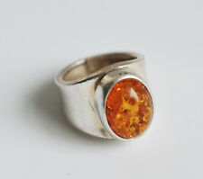 Gorgeous Wide-banded Sterling Silver and Marmalade Amber Cabochon Ring (Size O)