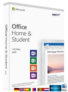 Microsoft Office Home & Student 2019 Vollversion 1 PC/Mac DE / ML Download NEU