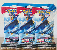 Pokemon TCG Sword & Shield Battle Styles 3 Sleeved Booster Packs Factory Sealed