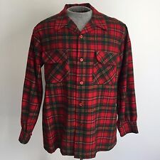 Vintage 1970s Pendleton Wool Board Shirt Plaid Surf Looped Button Beach Boy Red
