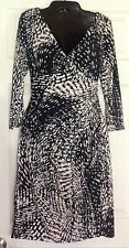 Lauren Ralph Lauren Women's Black Tan Gray Spotted Print 3/4 Sleeve Dress 10 NWT