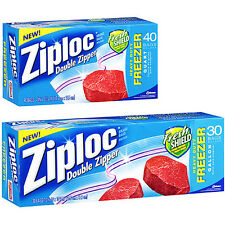 ZIPLOCK HEAVY DUTY DOUBLE ZIPPER QUART / GALLON FREEZER STORAGE FOOD BAGS ZIPLOC