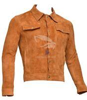 Men's Brown Suede Leather Jacket Slim fit Biker Motorcycle Jacket