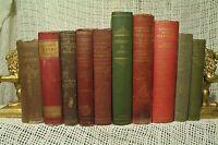 lot 10 old antique vtg books decorators shelf distressed home decor red green
