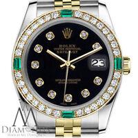 Men's Rolex 36mm Datejust 2 Tone Black Color Dial Emerald Diamond Accent Watch