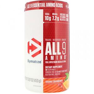 Dymatize Nutrition, ALL9AMINO, Orange Cranberry, 15.87 Oz (450 G)